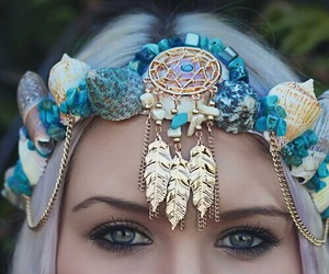 mermaid, blue, and crown image