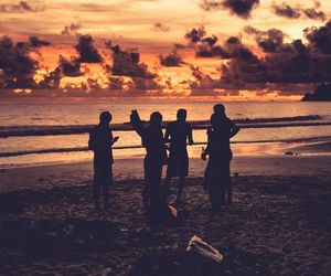 friends, beach, and sunset image