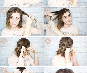 hair, medium hairstyles, and easy updos image