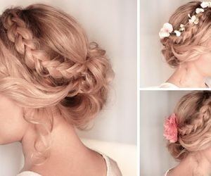 hair, braided updos, and hairstyles image
