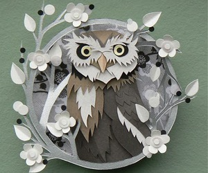 art, flowers, and owl image