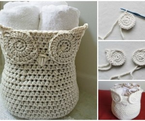 crochet storage basket and crochet basket container image