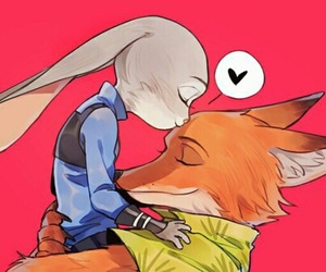 cute, zootopia, and kiss image