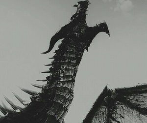 dragon, black and white, and black image