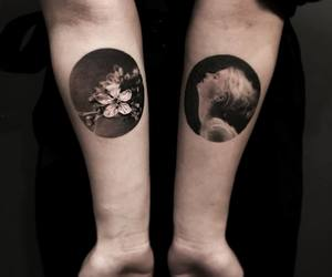 art, black, and flowers image