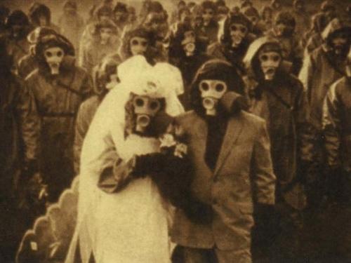 wedding, gas mask, and creepy image