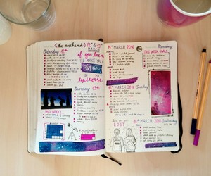 galaxy, bullet journal, and love planning image