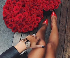 flower, heels, and jewelry image