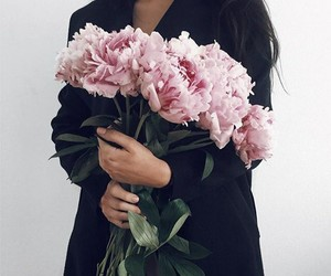 girl, flowers, and peonies image