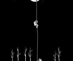 aesthetic, black and white, and moon image