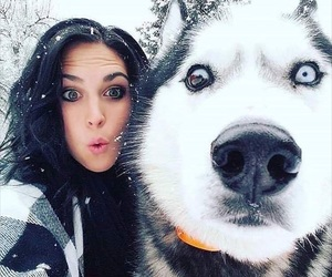 dog, girl, and snow image