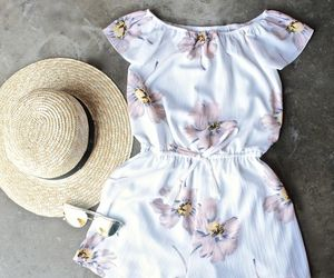 clothes, floral, and hat image