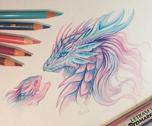 dragon, drawing, and cute image