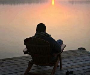 sunset and boy image