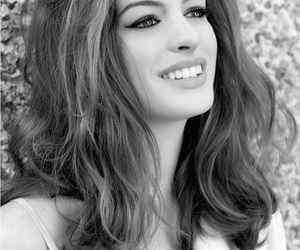 Anne Hathaway, black and white, and woman image