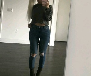 blue ripped jeans, nikita dragun, and knee ripped jeans image