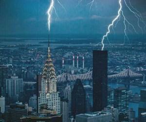 city, storm, and lightning image