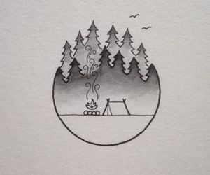 art, drawing, and camping image