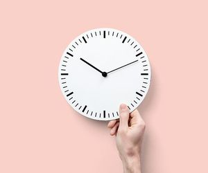 clock, photography, and pink image