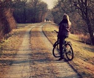 girl, bike, and autumn image