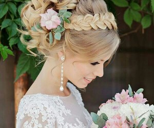 wedding, hairstyle, and hair image