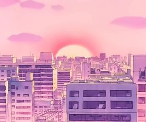 pink, anime, and city image