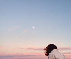 girl, sky, and moon image