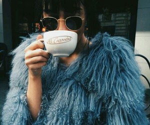 fashion, blue, and coffee image