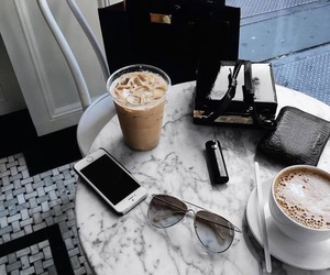 coffee, iphone, and drink image