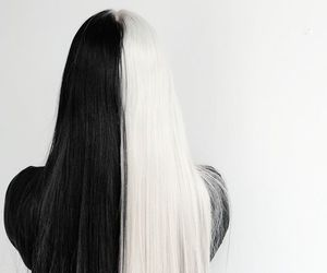 black and white, fashion, and hair image