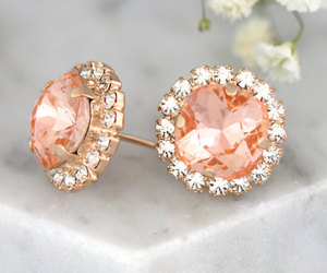coral, earrings, and etsy image