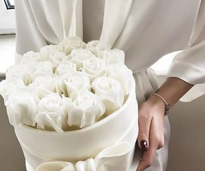 white, rose, and flowers image