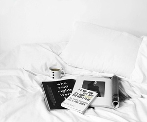 white, bed, and book image