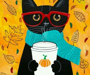 cat, autumn, and art image