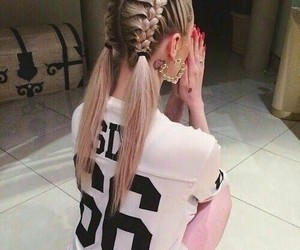 blonde, braided hair, and girl image