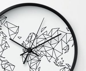 black and white, pattern, and clock image