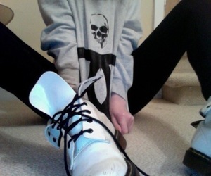skull, doc martens, and pale image