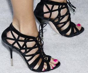black, strappy, and heels image
