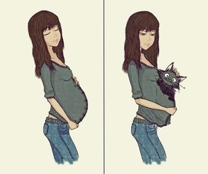 cat, funny, and pregnant image