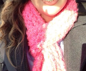 pink, scarf, and winter image