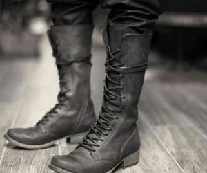 black and white and boots image