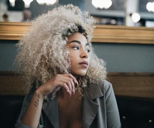 beauty, curly hair, and coffee image
