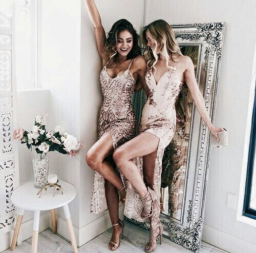 girl, best friends, and dress image