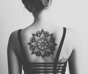 black and white, mandala, and hair image