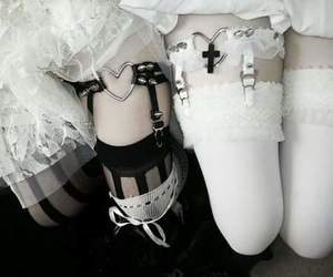 white, black, and pastel goth image
