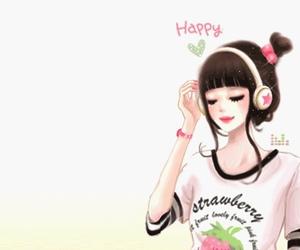 girl, happy, and headphones image