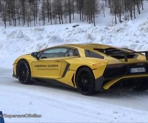 Lamborghini, snow, and supercar image