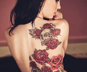 flowers, tattoo, and red roses image