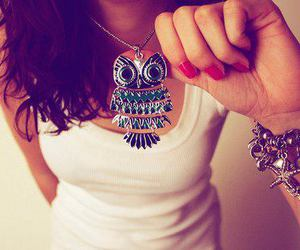 girl, owl, and necklace image