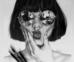 black and white, drawing, and art image